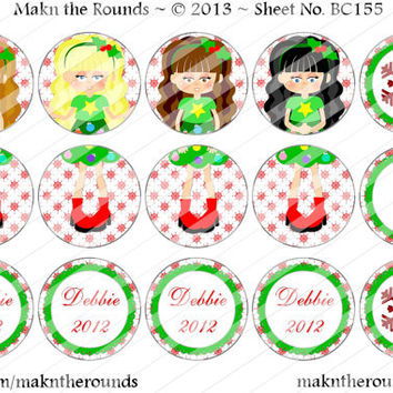 Editable Girls Christmas Ornament Set - 1 inch Circle Bottle Cap Image - 4x6 and 8.5x11 Digital Collage Sheet (No. BC155) - Instant Download
