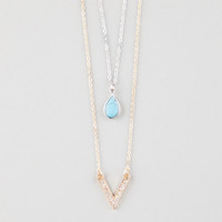 Full Tilt Turquoise Stone/Chevron 2 Row Necklace Gold One Size For Women 25260362101