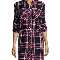 Beach Lunch Lounge Simone Plaid Tie-Waist Shirtdress, Admiral