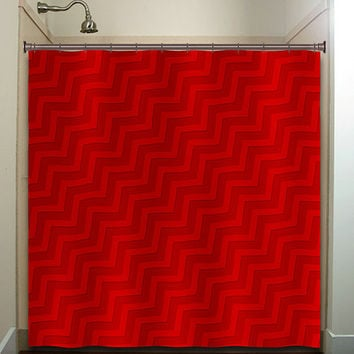 diagonal tones red chevron shower curtain bathroom decor fabric kids bath white black custom duvet cover rug mat window