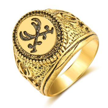 New Fashion Gold Color Muslim Allah Imam Ali Zulfiqar Ring For Men slam Arabic God Messager Middle Eastern Biker Jewelry Gift