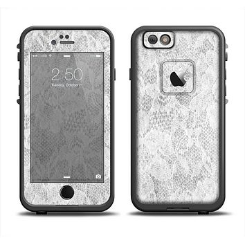 The White Textured Lace Apple iPhone 6 LifeProof Fre Case Skin Set