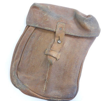 Vintage Czech AK47 Magazine Pouch - Brown Leather Ammo Pouch, vintage military