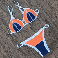 Women Swimsuits Bikinis Set Beach Wear Patchwork Swimwear