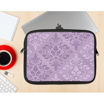 The Light and Dark Purple Floral Delicate Design Ink-Fuzed NeoPrene MacBook Laptop Sleeve
