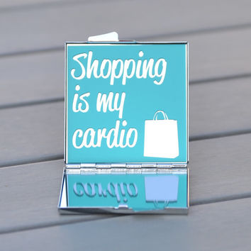 Shopping is my cardio compact mirror | Sex and the City quote | Carrie Brashaw quote | Sex and the City fan gift idea