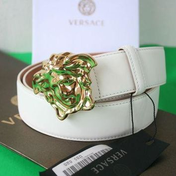 ICIKB7E New Authentic men's Versace White Leather Medusa GOLD Buckle Belt 95/38 32-34
