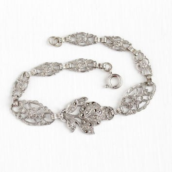 Vintage Sterling Silver Filigree Flower Marcasite German Bracelet - 1930s Art Deco Panel Milgrain Repousse Rose Floral Germany Jewelry