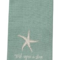 Wish Upon a Star Embroidered Cotton Kitchen Dish Towel with Sea Star