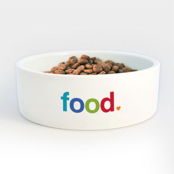 Food Bowl for Dogs Cats Pets - Heavy Ceramic Bowl with Food in Bright Colorful Letters