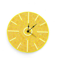 Yellow mosaic wall clock sunny golden honey sun large home decor mirror pieces
