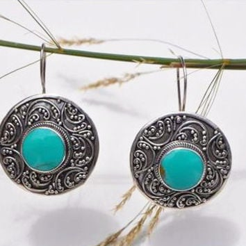 Round Turquoise and Silver Earrings