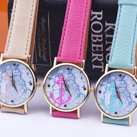 Retro Anchor & World Map Leather Watch + Gift Box