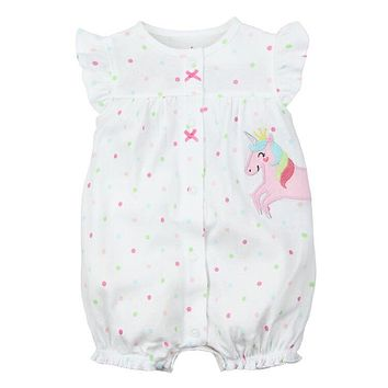 unicorn baby clothes Newborn Children cartoon Rompers For Boy short sleeved jumpsuit pure cotton baby girl clothes in summer
