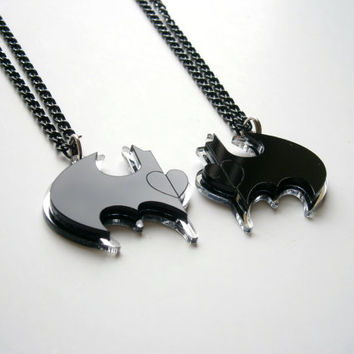 Sale - 20 % Best Friends Batman Necklace -  Friendship Necklaces-  Laser Cut Black and Mirror Acrylic - Heart