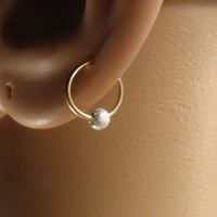 Hoop Earring Gold with Silver Fleck