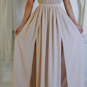 Fashion collar halter strap dress slit skirt