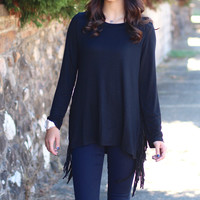 Midnight Romeo Fringe Top {Black}