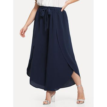 Womens Self Belted Solid Wide Leg Pants - Plus Size