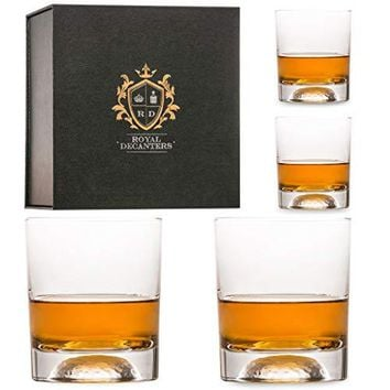 Royal Decanters Golf Themed Whiskey Glasses Gift Set -10 Ounces- for Whiskey Scotch Rum Bourbon Tequila, Brandy Drinkers - Great for Dad - Packaged in a Beautiful Gift Box (Set of 4)
