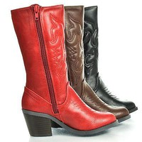 RenoIIH Red Pu By Happy Soda, Children Girls Cowboy Cowgirl Western Leatherette Mid Calf Boots