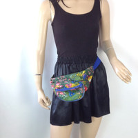Vintage Fanny Pack Tropical Floral with Birds 3 Compartments 70s Fanny pack 80s fanny pack