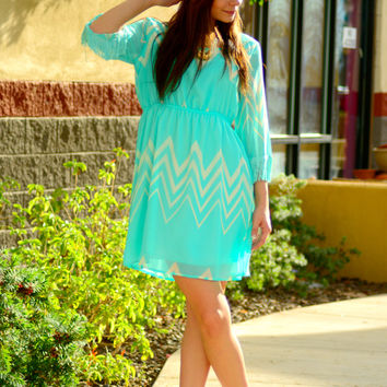 TO THE BEAT CHEVRON FRINGE DRESS IN MINT