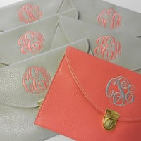 Monogram Clutch Purse Color Coral Font Shown MASTER CIRCLE