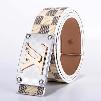 Louis Vuitton LV Fashion New Monogram Check Leather Women Men Leisure Belt Beige White