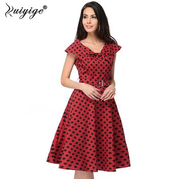Women Summer Casual Dress 2018 1950s Retro Vintage Style Sleeveless Dot  Sexy Beach Dress Swing Vestido Midi Plus Size For Woman