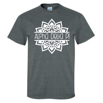 Sorority Tee Grey with White Sorority Name  and Mandala Design / Greek T-Shirts / Sorority Big Little T-Shirts