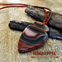 Botswana agate arrowhead necklace, Native American inspired boho hippie jewelry