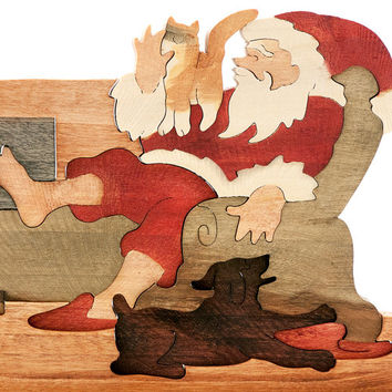 Vintage Wood 3-D Puzzle Christmas Santa Fireplace Cat Dog Stosich Handcrafted Hardwood Hand Finished Stain Painted Woodlock Puzzles