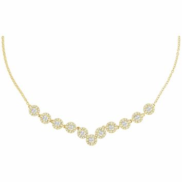 14kt Yellow Gold Women's Princess Diamond Soleil Cluster Luxury Necklace 1-7-8 Cttw - FREE Shipping (US/CAN)