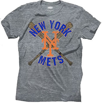 Mens Majestic Threads New York Mets Tri Blend Tee Shirt