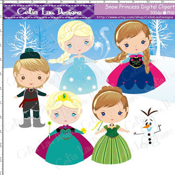 Snow Princess Clipart, Frozen clip art for Personal and Commercial /Card Design/Scrapbooking/Web Design/INSTANT DOWNLOAD(P007)