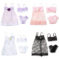 3PCS Set Colorful Sexy Pajamas Lingerie Nightwear Lace Night Dress + Bra + Underwear Clothes For Barbie DollSkirt Clothes