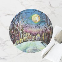Silent Night Winter Full Moon in Sweden Cake Stand