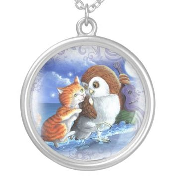 cute cat owl necklace