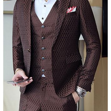 2018 Boys Coffee Fashion Geometric Plaid Printed Men Suit Vest With Pants 3 Piece Slim Fit Wedding Tuxedo Suits for Men Mauchley