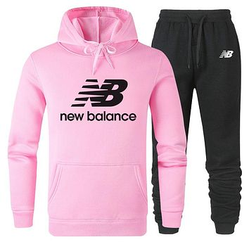 New Balance new cotton hooded men's and women's sports suit two-piece Pink