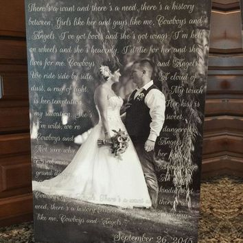 Custom Wedding Vows Canvas / First Dance Song Lyrics / Wedding Song Lyrics / Wedding Vows / Wedding Gift / Anniversary Gift