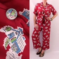 Vintage 40s 50s - Burgundy Red - School House Novelty Print - Silk Pajama Nightie Set - Button Up Shirt & Pants