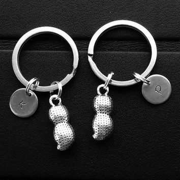Peanut keychain Set of two Valentines gift Personalized peanut keychain Initial keychain Best friend gift Peanut charm Food Keychain