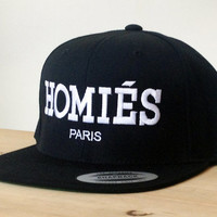Homies Snapback Hat with Custom Embroidered Logo.  Made to order quality snap back hats and designs