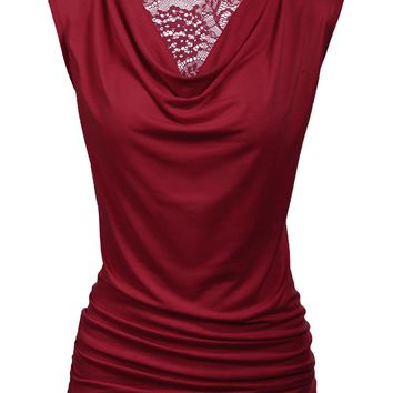 Zeagoo Womens Ruched Cowl Neck Tank Tops Sleeveless Stretch Blouse With Side Shirring,Large,Wine Red
