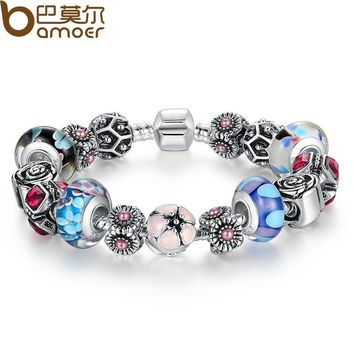 Silver Original Flower Charm Bracelet for Women With Exquisite Glass Bead Safety Clasp Mother's Day Gifts PA1841
