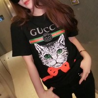 """Gucci"" Women All-match Casual Bow Cat Head Pattern Letter Print Short Sleeve T-shirt Top Tee"