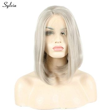 Sylvia Ash Blonde 14'' Short Straight Bob Hairstyle Heat Resistant Fiber Hair Platinum Half Hand Tied Synthetic Lace Front Wig