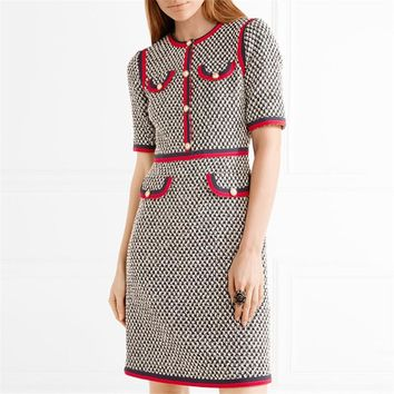 Rugod 2017 Early Autumn Kate Middleton Grey Tweed Wool Dress Women O-neck Short Sleeve Patchwork Tunic Party Dress Vestidos
